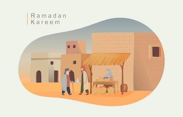Illustrazione felice di eid mubarak e ramadan