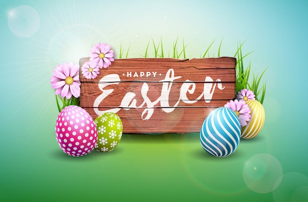 Illustrazione felice di festa di pasqua con l'uovo ed il fiore