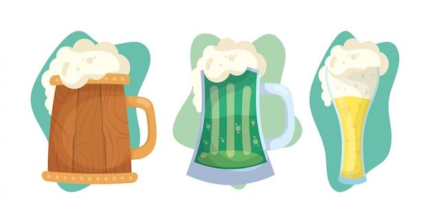 Illustrazione felice di giorno della st patricks con le bevande delle birre