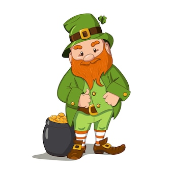 Illustrazione felice di giorno di san patrizio. leprechaun cgaracter disegnato a mano con foglia di trifoglio verde. illustrazione.
