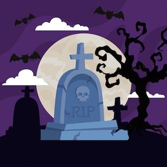 Illustrazione felice di halloween con lapide, albero secco, pipistrelli che volano nella notte oscura