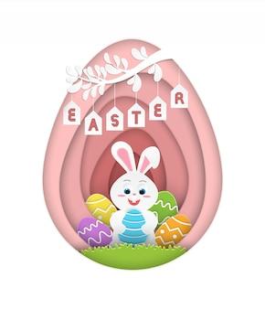 Illustrazione felice di pasqua con il coniglietto di pasqua che tiene le uova di pasqua