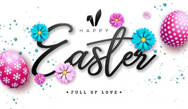 Illustrazione felice di pasqua con l'uovo ed il fiore dipinti rosso