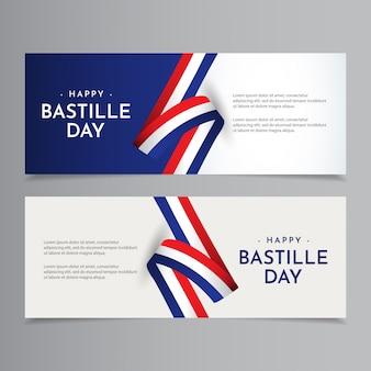 Illustrazione felice di progettazione del modello di celebrazione di giorno della presa della bastiglia
