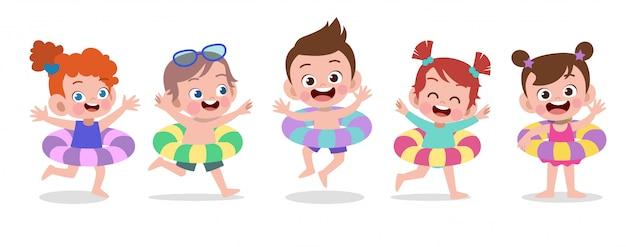 Illustrazione felice di vettore di festa della spiaggia dei bambini isolata