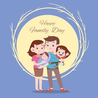 Illustrazione felice di vettore di saluto della carta di giorno di famiglia