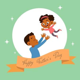 Illustrazione felice di vettore di saluto della carta di giorno di padri felice
