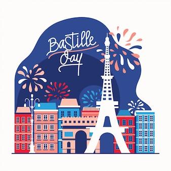 Illustrazione felice giorno della presa della bastiglia e cartolina d'auguri per la festa nazionale francese