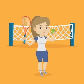 Illustrazione femminile di vettore del tennis