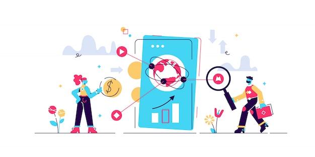 Illustrazione fintech. piccolo concetto di persona tecnologia finanziaria. metodo bancario cyberspazio con smartphone per mobile banking, servizi di investimento e criptovaluta. trasferimento di denaro in economia