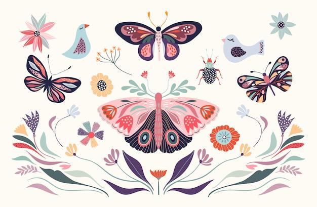 Illustrazione floreale con uccelli e farfalle