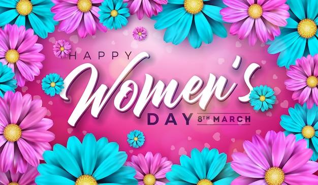 Illustrazione floreale della cartolina d'auguri di giorno delle donne con il fiore
