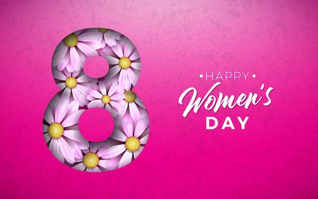 Illustrazione floreale di giorno delle donne felici con il fiore