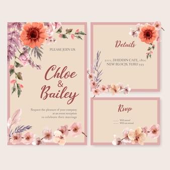 Illustrazione floreale secca dell'acquerello del modello della partecipazione di nozze