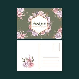 Illustrazione floreale secca dell'acquerello della cartolina.
