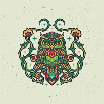 Illustrazione floreale variopinta della mandala del gufo