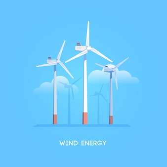 Illustrazione. fonti di energia alternative. energia verde. mulini a vento