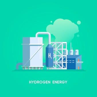 Illustrazione. fonti di energia alternative. energia verde. stazione di idrogeno.
