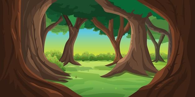 Illustrazione foresta naturale sullo sfondo mattina