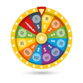 Illustrazione fortunata di vettore della ruota del gioco di fortuna