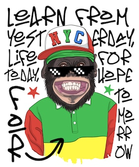 Illustrazione fresca disegnata a mano della scimmia, vettore.