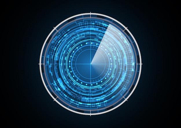 Illustrazione futura astratta di vettore del fondo del radar del cerchio di tecnologia