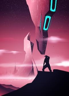 Illustrazione futuristica dello spazio dentro