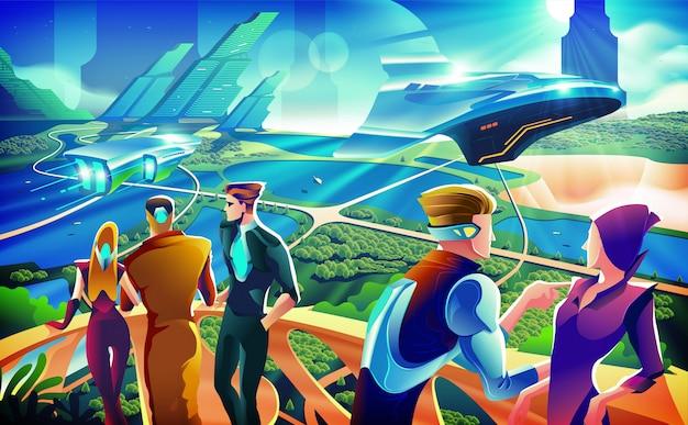 Illustrazione futuristica di concetto del partito della terrazza