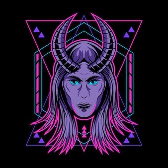 Illustrazione geometrica di carattere demone signora