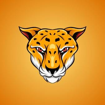 Illustrazione gialla della testa del ghepardo nella vista frontale