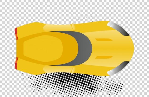 Illustrazione gialla di vettore di vista superiore dell'automobile sportiva. auto design piatto.