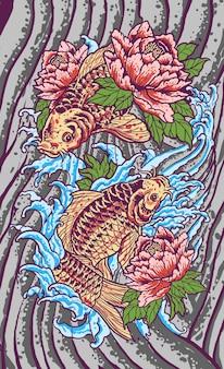 Illustrazione giapponese del tatuaggio di lotus di koi