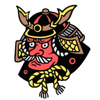 Illustrazione giapponese del tatuaggio di vecchia scuola dell'armatura di oni