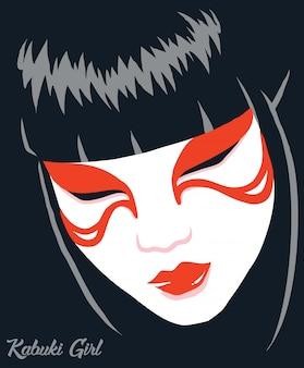 Illustrazione giapponese della ragazza di kabuki
