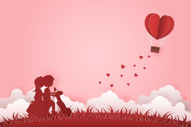 Illustrazione giovane coppia incontri a san valentino paper art