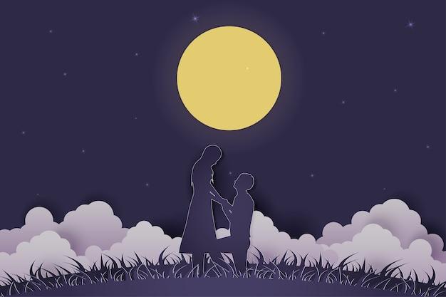 Illustrazione giovane coppia incontri nel giorno di san valentino