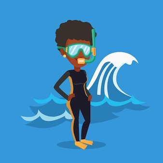 Illustrazione giovane subacqueo.
