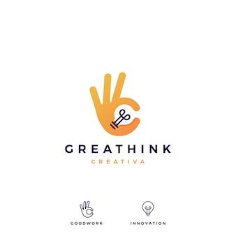 Illustrazione giusta dell'icona di vettore di logo di idea della lampadina di gesto di mano