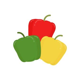 Illustrazione grafica dei peperoni verdi e gialli rossi