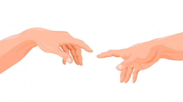 Illustrazione grafica del fumetto delle dita commoventi delle mani di dio e di adamo