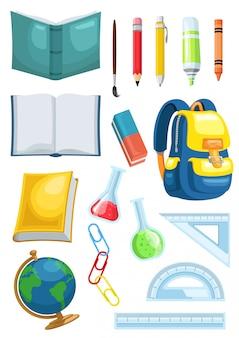 Illustrazione grafica dell'insegna dei rifornimenti di scuola dell'insieme di riserva di vettore