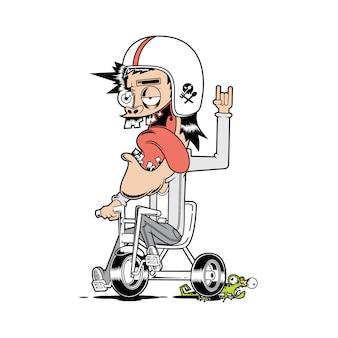 Illustrazione grafica della bicicletta divertente del motociclista