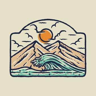 Illustrazione grafica della maglietta di arte dell'illustrazione della natura del mare della spiaggia