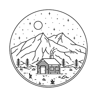 Illustrazione grafica della montagna della natura domestica