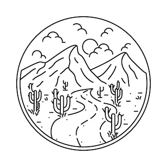 Illustrazione grafica della strada della montagna alla natura