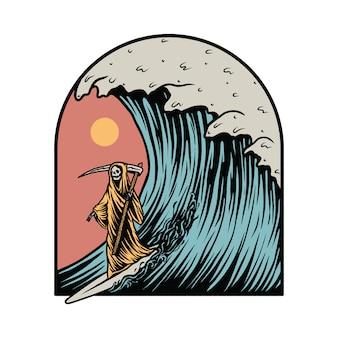 Illustrazione grafica di estate praticante il surfing di reaper torvo