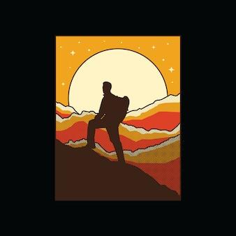 Illustrazione grafica di montagna escursionista