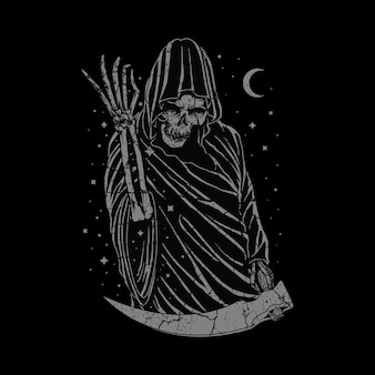 Illustrazione grafica di orrore cranio reaper torvo