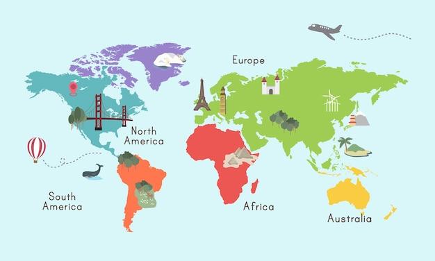 Illustrazione grafica di posizione della mappa del continente del mondo