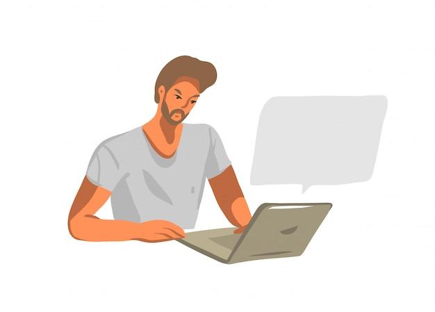 Illustrazione grafica di riserva astratta disegnata a mano con giovane maschio che lavora o che chiacchiera sul computer portatile su fondo bianco